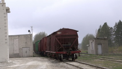 Cargo trains outside the factory