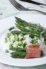 risotto with asparagus and green peas vertical