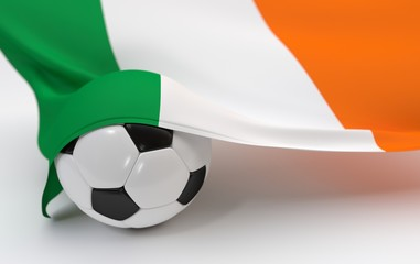 Ireland flag with championship soccer ball