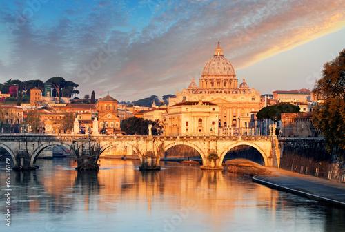 Foto op Canvas Praag River Tiber, Ponte Sant Angelo and St. Peter's Basilica