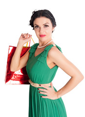 Attractive woman holding bags