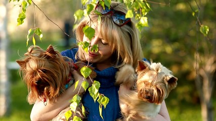 girl and Yorkshire Terriers