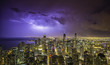 Chicago downtown night panorama during thunderstorm
