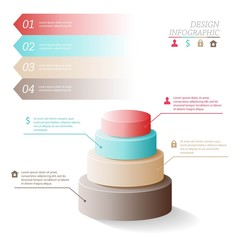 Business Infographics five stages in the form of circles or web