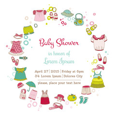 Baby Girl Shower or Arrival Card with Place for your text