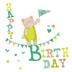Baby Bear Birthday Card - for invitation, congratulation