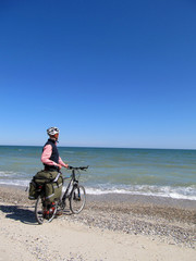 Cyclist on the beach.