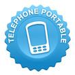 téléphone portable sur bouton web denté bleu