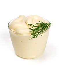 Mayonnaise in bow over white
