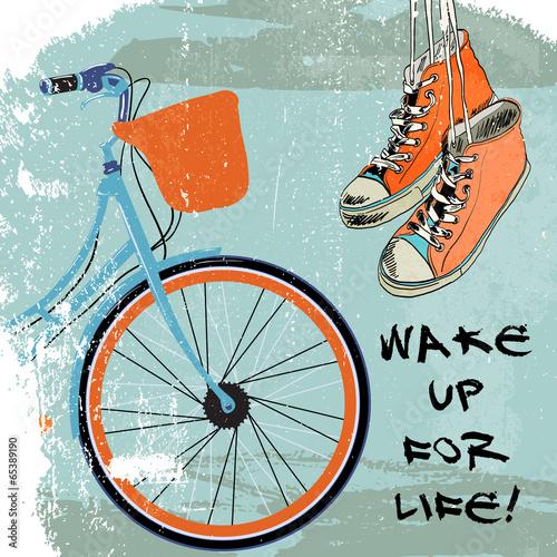 Gumshoes sketch bike hipster © macrovector