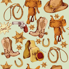 Wild west seamless pattern colored