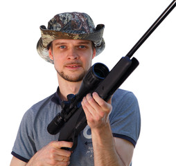 Handsome guy with hunting telescopic rifle