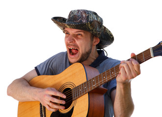 High expressive singer playing the guitar