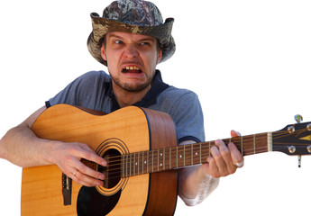 Man with horrible grimace playing the guitar