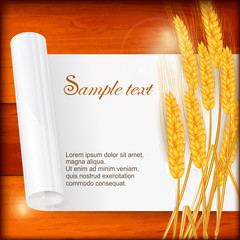 Ripe ear wheat with sheet of paper on wooden, vector