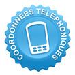 coordonnées téléphonique sur bouton web denté bleu