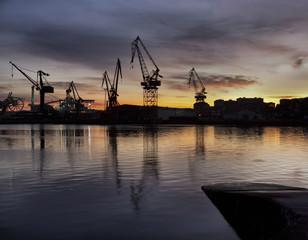 Shipyard at dusk.