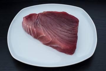 Large fresh raw yellowfin tuna steak