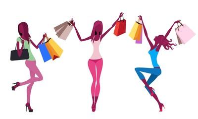 shopping silhouette of girls