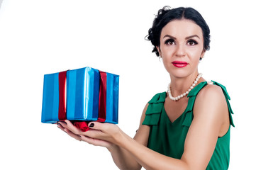 Pretty woman with gift box