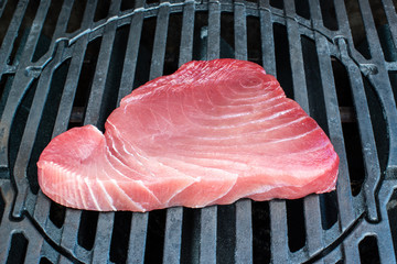 Tuna steak being grilled on the bbq