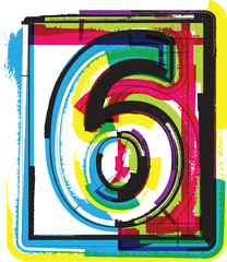 Colorful Grunge Font NUMBER 6