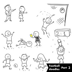 Vector hand drawn illustration set - football soccer players