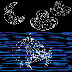 Vector hand drawn illustration in vintage style - fish and moon
