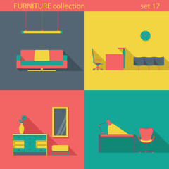 Creative design furniture icons set. Interior Long shadow style.