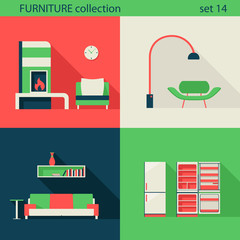 Creative design modern home interior furniture icons set