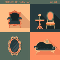 Creative design flat longshadow classic furniture icons set