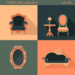 Creative design flat longshadow classic furniture icons set