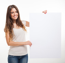 Young woman showing a blank sign