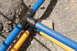 Leinwanddruck Bild - Bauarbeiten - Neue Wasserleitung und neue Gasleitung
