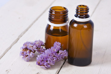 bottles of massage oil and aromatherapy spa