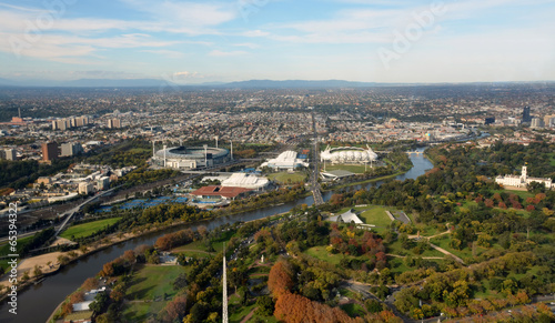 Fotobehang Stadion Aerial View of Melbourne's Eastern Suburbs including MCG.