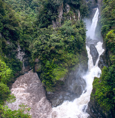 Pailon del Diablo - Mountain river and waterfall in the Andes