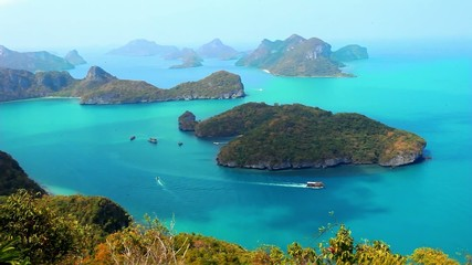 View from Mountain on Angtong marine park of the islands and