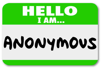 Anonymous Unnamed Name Tag Classified Secret Identity
