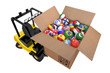 Loader with box full balls as national flags