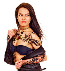 Girl with body art.