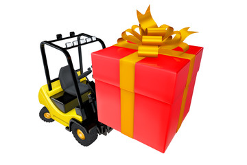 Loader with a box as a gift by a holiday