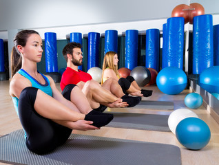 Pilates people group the seal exercise group