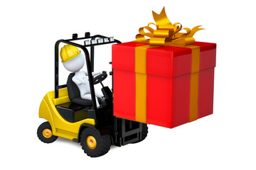 White man on a loader with a gift by a holiday