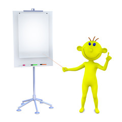 Yellow man gives the information at the stand