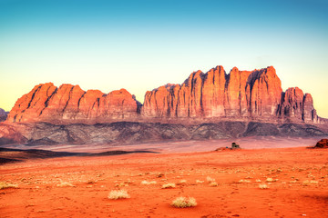 Jebel Qatar Mountain in Wadi Rum, Jordan at early-morning