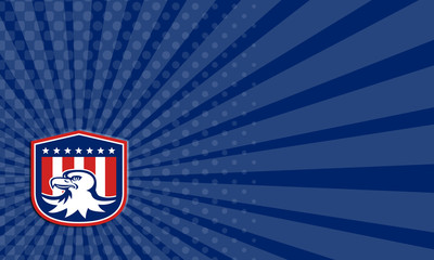 Business card American Bald Eagle Head Flag Shield Retro
