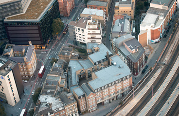 London Buildings near train station, aerial view