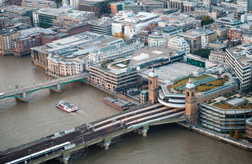 London buildings along river Thames, aerial view on a beautiful