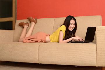 Asian young women cute womanworking